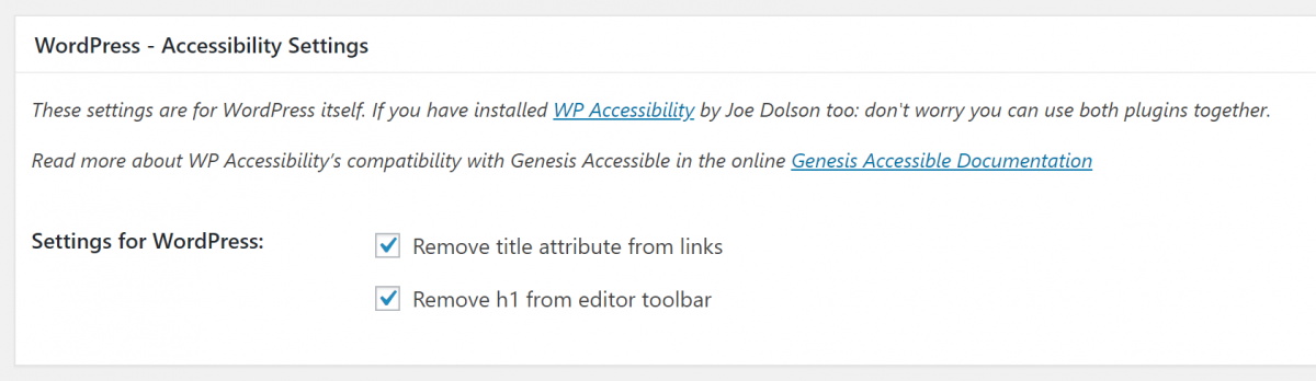 the WordPress Accessibility Settings section in the plugin